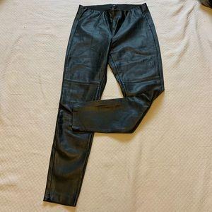 H&M Vegan Leather Black Pants 8 Ankle Zipper